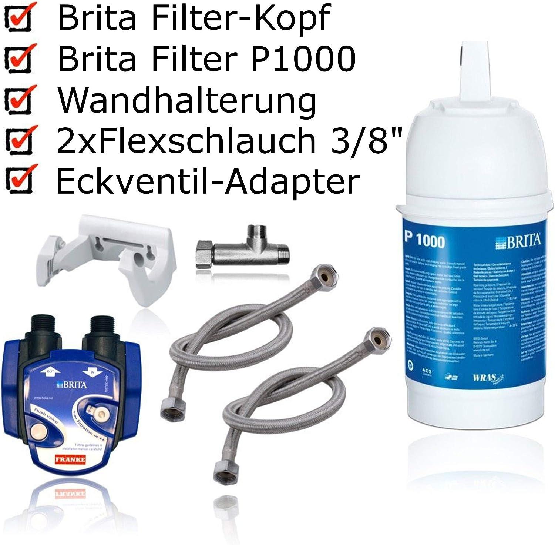 Brita Filtro de agua bajo mesa installationskit: Cartucho de filtro BRITA P1000, cabezal de filtro, tuberías, esquina ventiladapter. Incluye Brita Cambio de filtro pantalla