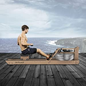 Mr. Rudolf Water Rowing Machine with Bluetooth Monitor,Wooden Rower Rowing Machines Home Use Gyms Training Sports Exercise Equipment Fitness Indoor