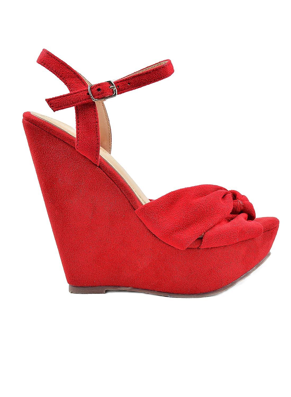 Chase & Chloe Gita-1 Sling Back Criss-Cross Bow Detail Women's Wedge Sandal B07D95BC2B 8.5 M US|Red