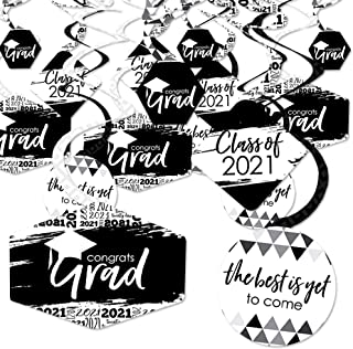 product image for Big Dot of Happiness Black and White Grad - Best is Yet to Come - 2021 Black and White Graduation Party Hanging Decor - Party Decoration Swirls - Set of 40