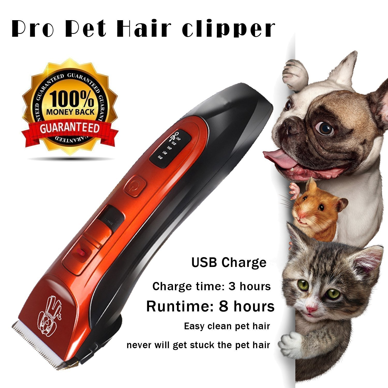 Dog Hair Clippers Low Noise Cordless Rechargeable Pet Hair trimmer, Pet Grooming Clipper,Professional Heavy Duty Pet Grooming Clippers for Thick Hair Dogs, Cats and Horses