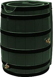 Good Ideas RW65-DR-GRN Rain Wizard Rain Barrel 65 Gallon Darkened Ribs, Green