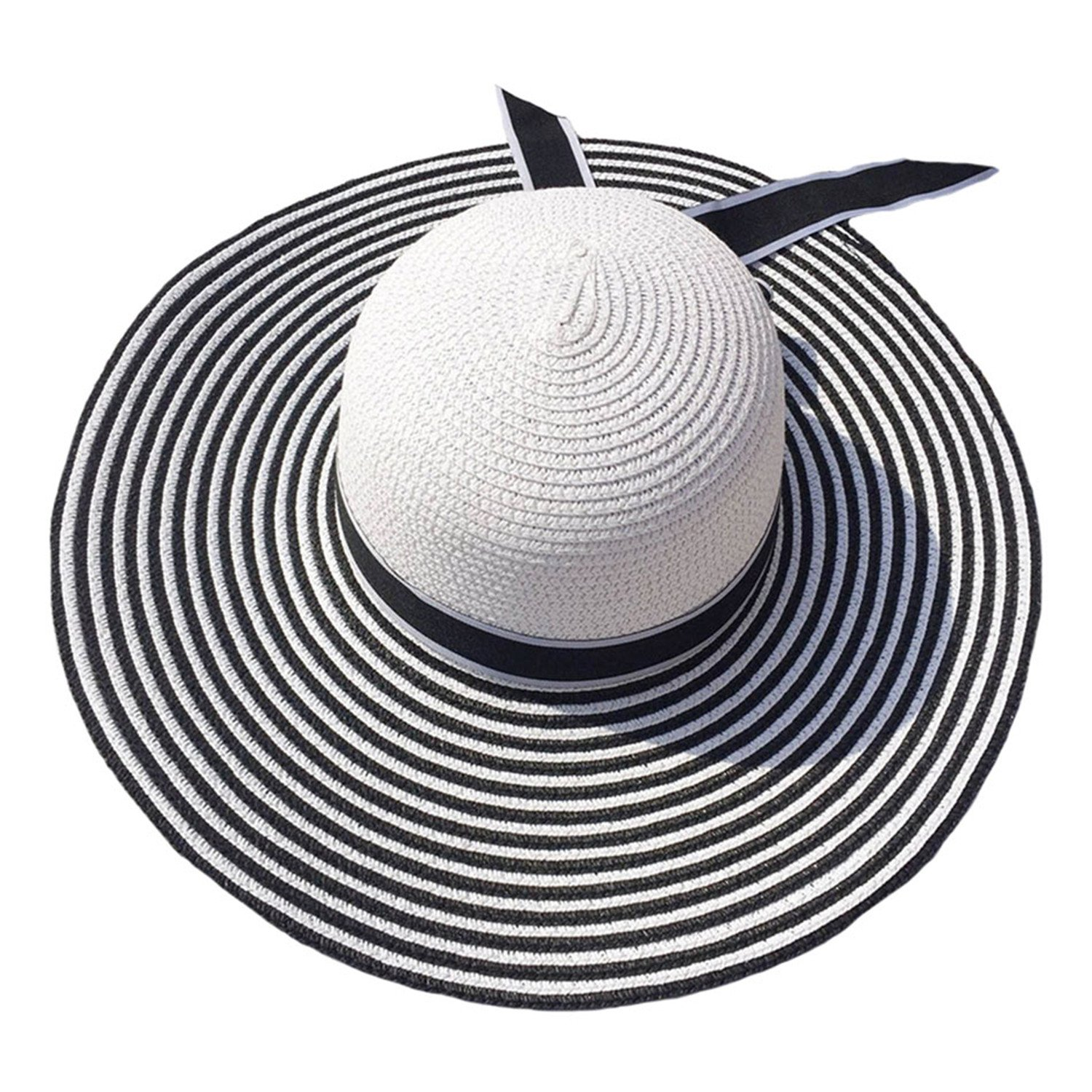 13ca54f53a6c8e Wide Brim Sun Hat Straw Women Summer Striped Bowknot Female Beach Hat at  Amazon Women's Clothing store: