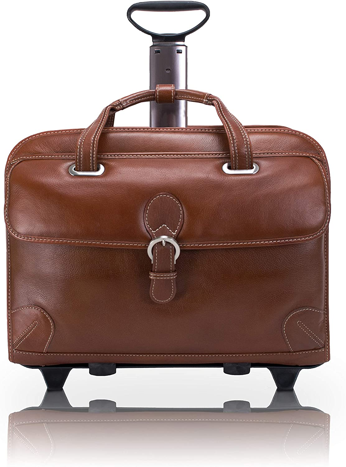 """McKlein USA Carugetto 15.4"""" Leather Wheeled Laptop Briefcase"""