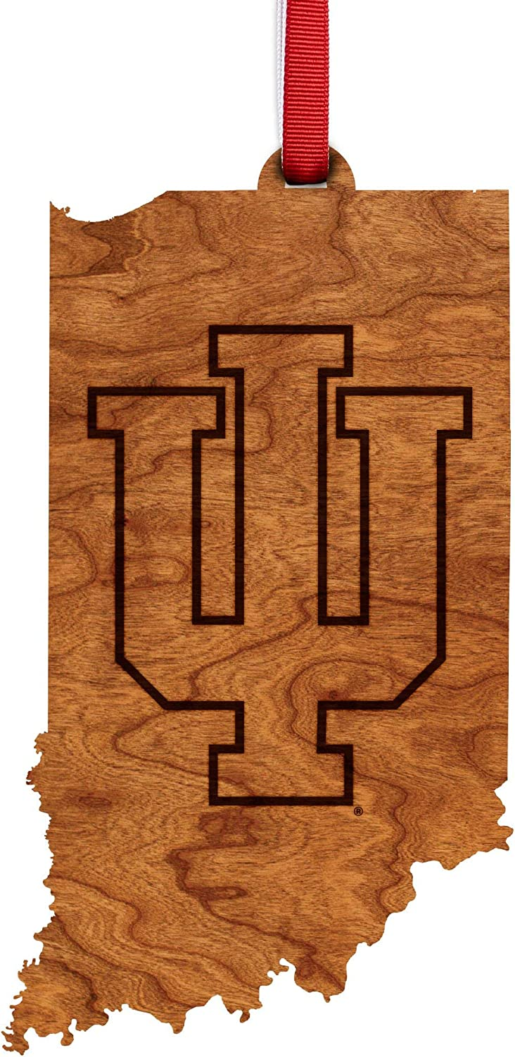 LazerEdge NCAA Wooden Ornament (Indiana University Hoosiers - State Map with IU)