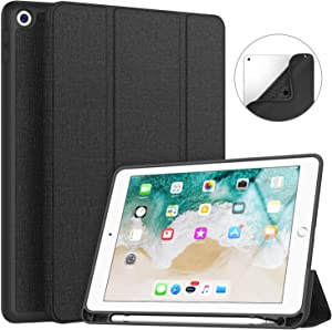 New iPad 9.7 2018/2017 Case with Pencil Holder, Soke Slim Fit Smart iPad Case Trifold Stand with Shockproof Soft TPU Back Cover and Auto Sleep/Wake Function for iPad 9.7 inch 5th/6th Generation, Black