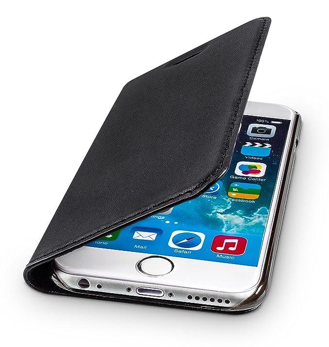 WIIUKA Echt Ledertasche - TRAVEL - für Apple iPhone 6S Plus und iPhone 6 Plus mit Kartenfach, extra Dünn, Tasche Schwarz, Led
