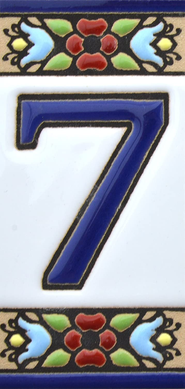 Handgemalte Kordeltechnik fuer Schilder mit Namen Hausnummer Nummer null0 Adressen und Wegweisern Schilder mit Zahlen und Nummern auf Keramikkachel . Design FLORES MINI 7,3 cm x 3,5 cm