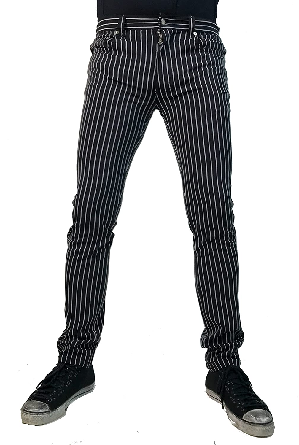 1950s Men's Costumes: Greaser, Elvis, Rockabilly, Prom Tripp Gothic Punk Rocker Rockabilly Wedding Skinny Black White Stripe Pants Trousers $59.99 AT vintagedancer.com