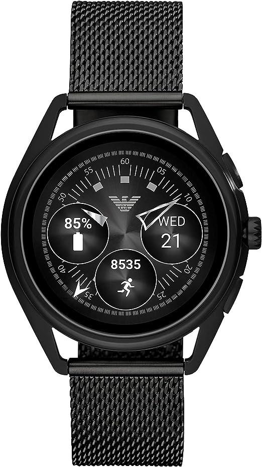Emporio Armani Mens Smartwatch 2 Touchscreen Stainless Steel Mesh Smartwatch, Black-ART5019