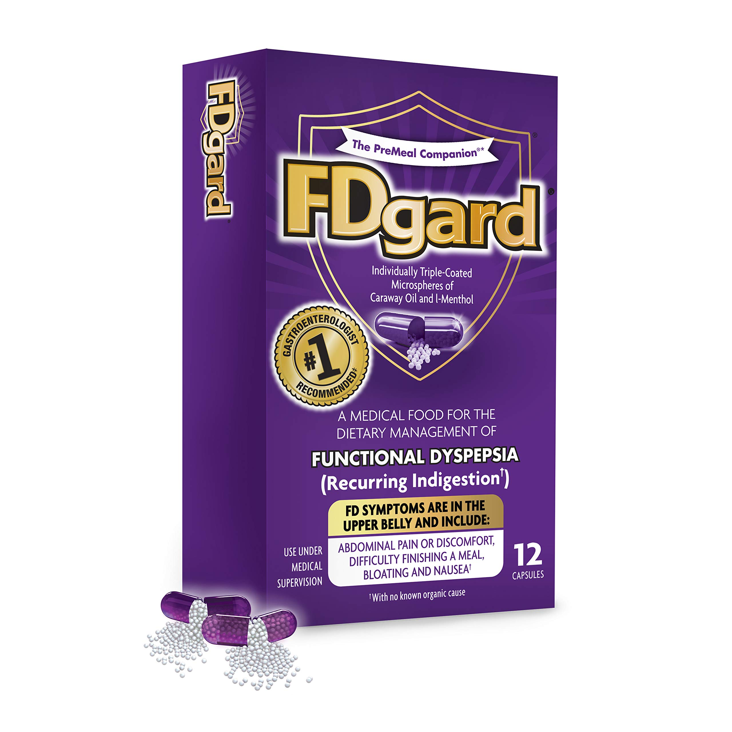 FDgard® for the Dietary Management of Functional Dyspepsia (Recurring Indigestion) Symptoms Including, Abdominal Discomfort, Difficulty Finishing a Meal, Bloating†*, Nausea, 12 Capsules