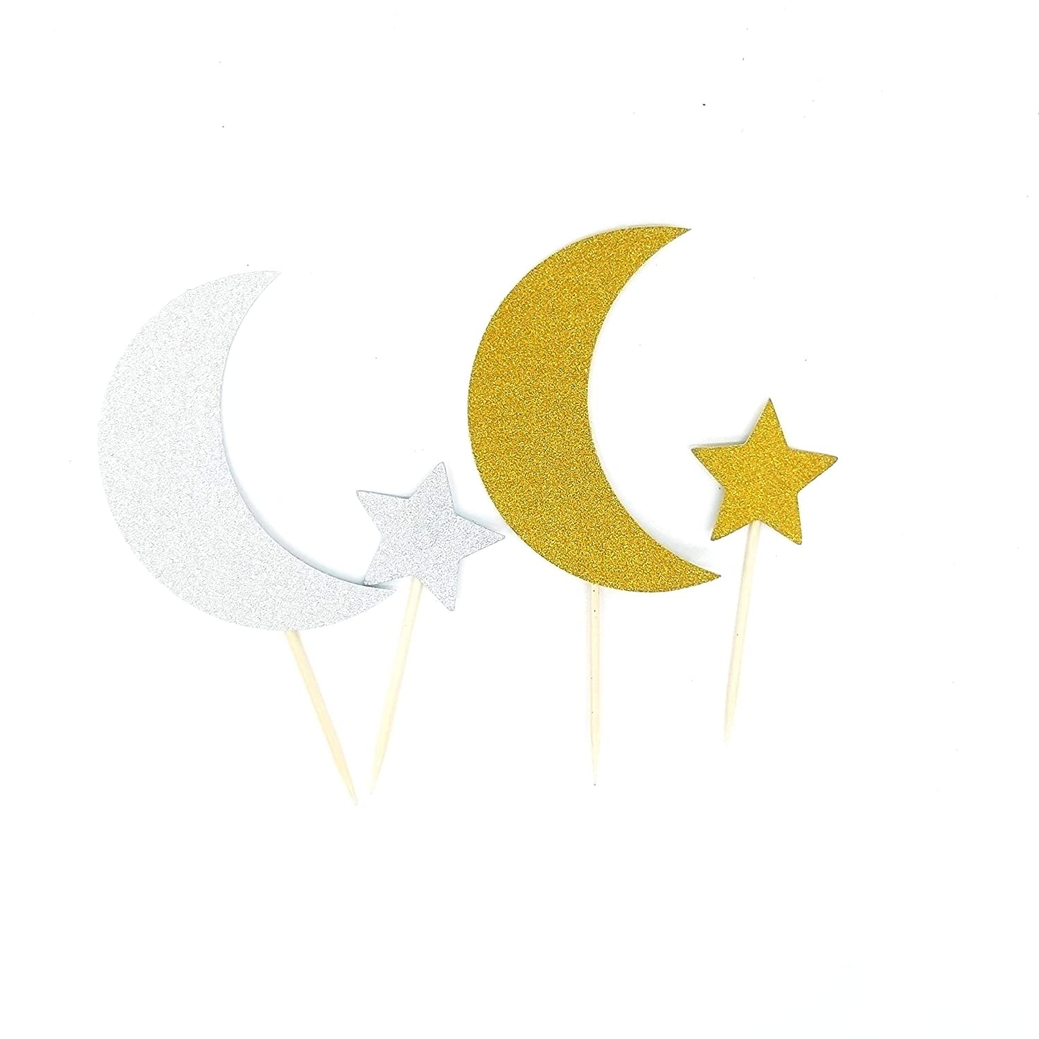 Double Sided Crescent Moon and Star Twinkle Twinkle Little Star Cupcake Toppers Cake Toppers Party Decoration DIY Shaped Baby Shower or Birthday Party Set of 24