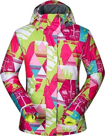 KEFITEVD Womens Winter Waterproof Ski Jackets Warm Fleeced Ladies Hiking Coats Snowboarding Jacket with Detachable Hood