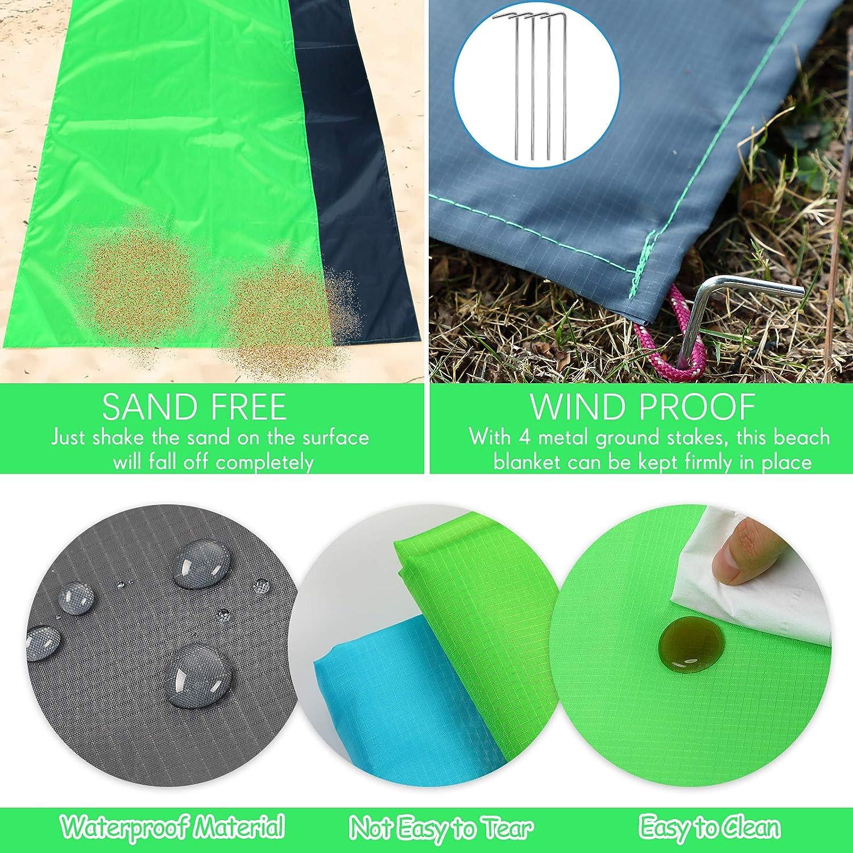 Skylety 2 Pieces Beach Pocket Blanket 55 x 59 Inch Waterproof Picnic Blanket Lightweight Pocket Blanket Sand Proof Picnic Blanket for Beach Travel Hiking Outdoor Camping