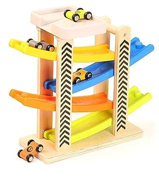 Toys of Wood Oxford Rampa Coches Madera - Rampa de Coches Juguete con estacionamiento en la azotea, rieles de plástico en Zigzag y 4 vagones de Madera ...