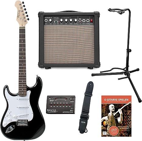 Rocktile Pro st3-bk-l de BK zurdos (pluma) S de Set de guitarra ...