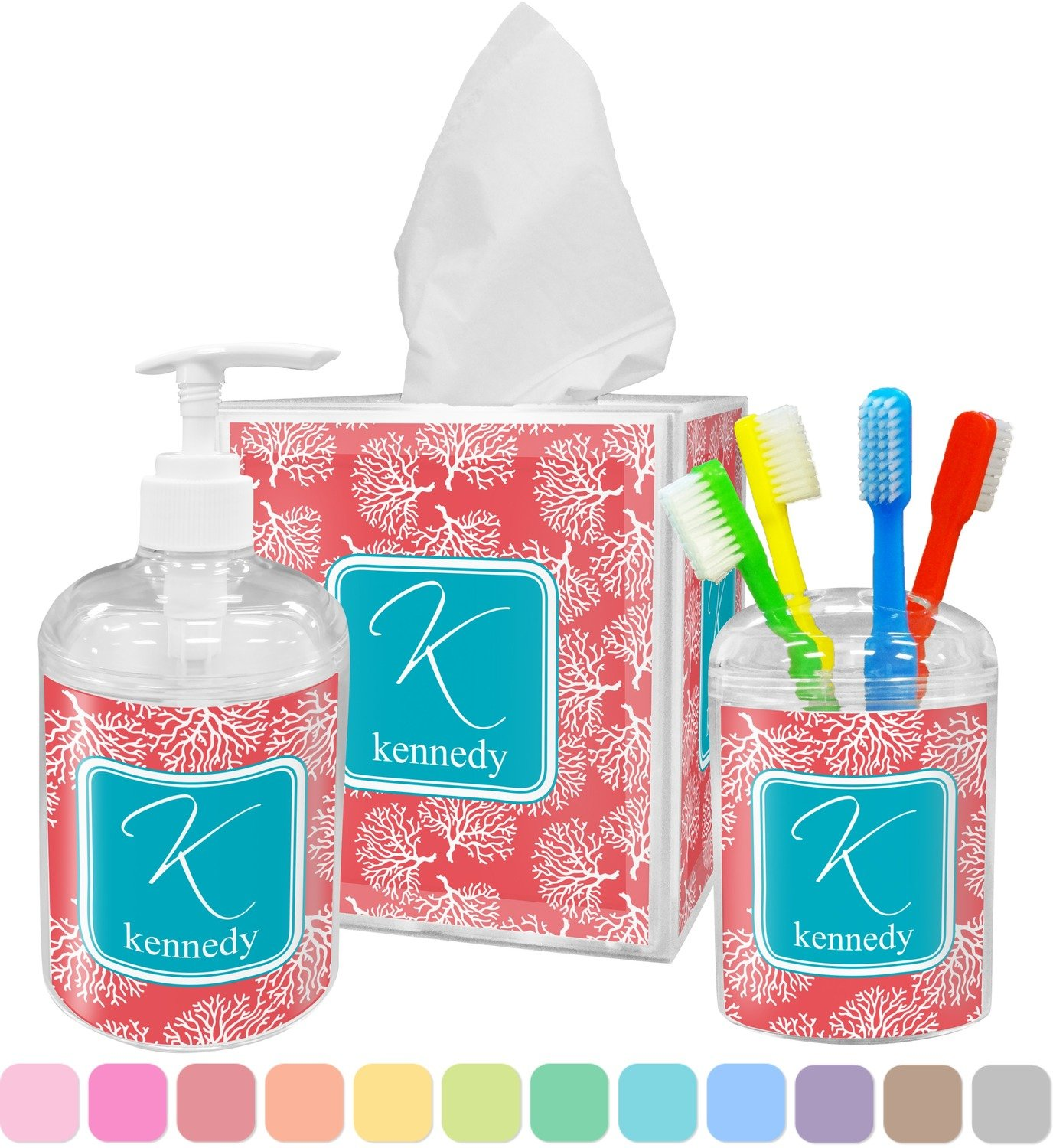 Amazon.com: Coral U0026 Teal Bathroom Accessories Set (Personalized): Home U0026  Kitchen