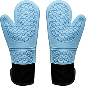 Glotoch Silicone Oven Mitt,Oven Mitts with Quilted Liner, Extra Long Professional Baking Oven Gloves - Food Safe,Pot Holders Cooking,Grilling,Kitchen (Blue)