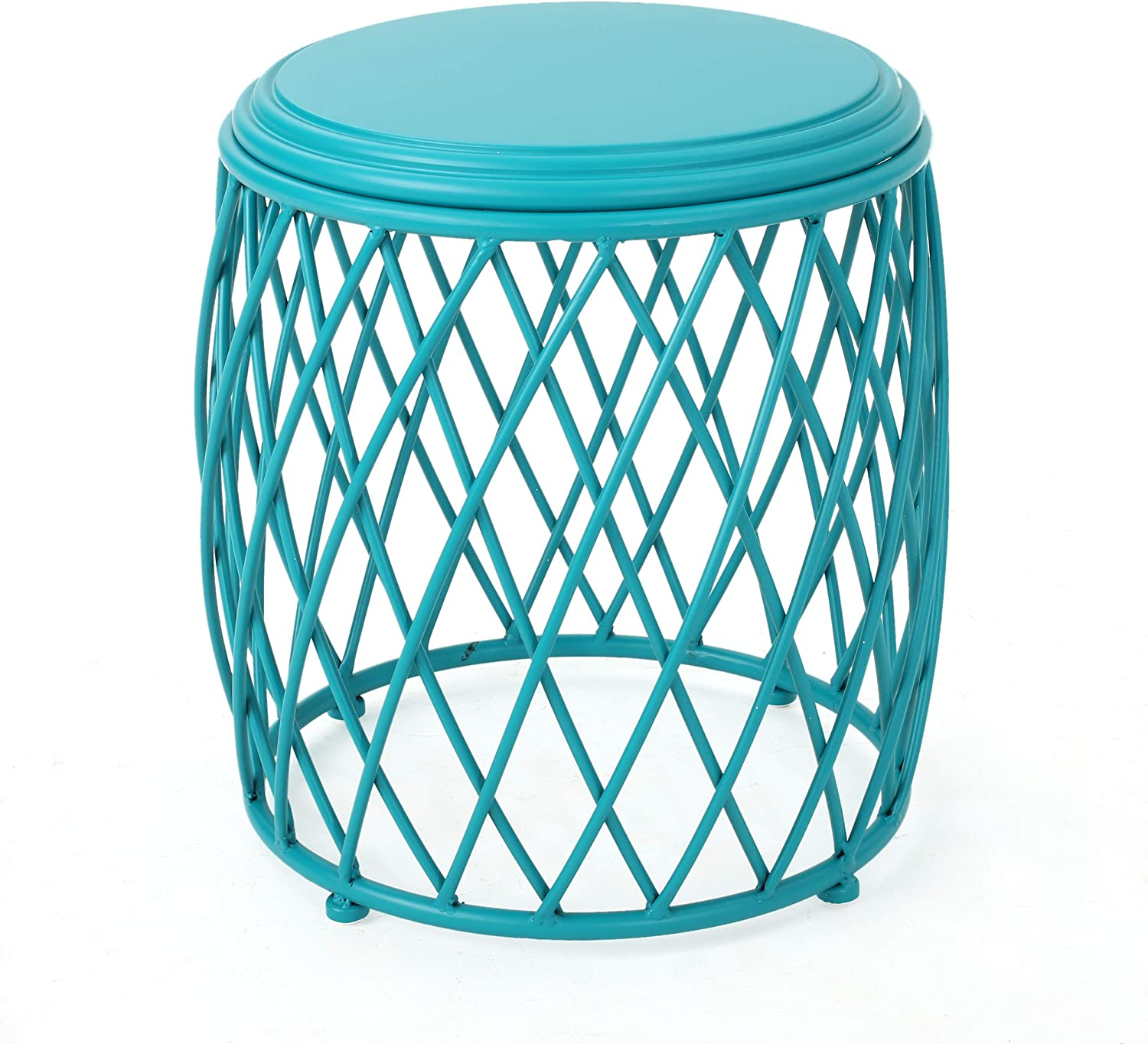 Christopher Knight Home 301949 Alameda Outdoor 15 Inch Lattice Iron Side Table Matte Teal , 15