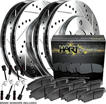 Rear Drill Slot Brake Rotors /& Ceramic Pads For Mercedes Benz ML320 ML350 ML430