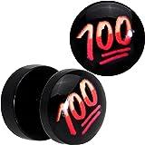 Officially Licensed Keep It 100 emoji Black Acrylic Cheater Plug Set of 2
