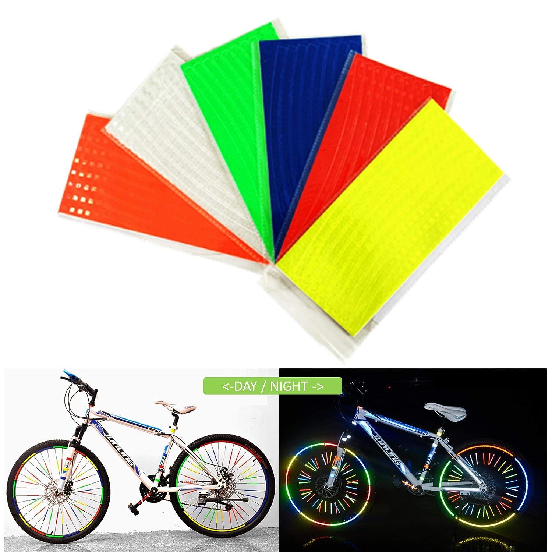 COSMOSS 反射テープ バイク サイクリング 自転車 ホイール 注意 警告 安全反射板 ストリップ ステッカー 蛍光 防水 反射 車用デカール  6-Colors B07J6NGMBK