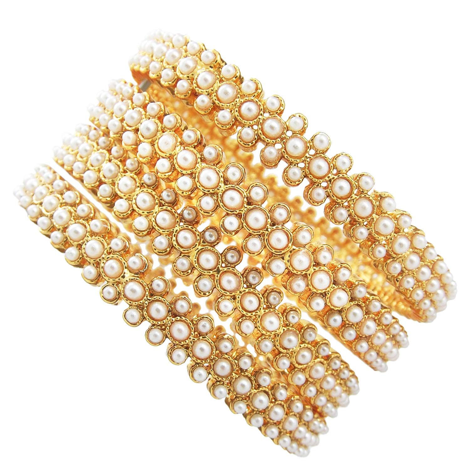9blings Bridal Collection Pearl Gold Plated 4pc Bangles for Womens Girls