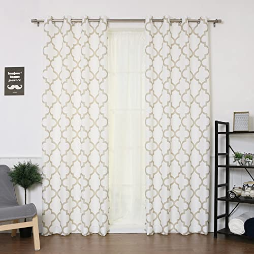 Best Home Fashion Oxford Basketweave Reverse Moroccan Print Curtains Stainless Steel Nickel Grommet Top Beige 52 W x 96 L – Set of 2 Panels