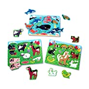 Melissa & Doug Peg Puzzles Set, Farm Animals, Pets, Ocean (Developmental Toy, Easy to Grasp, 3 Peg Puzzles, 6 Pieces in Each