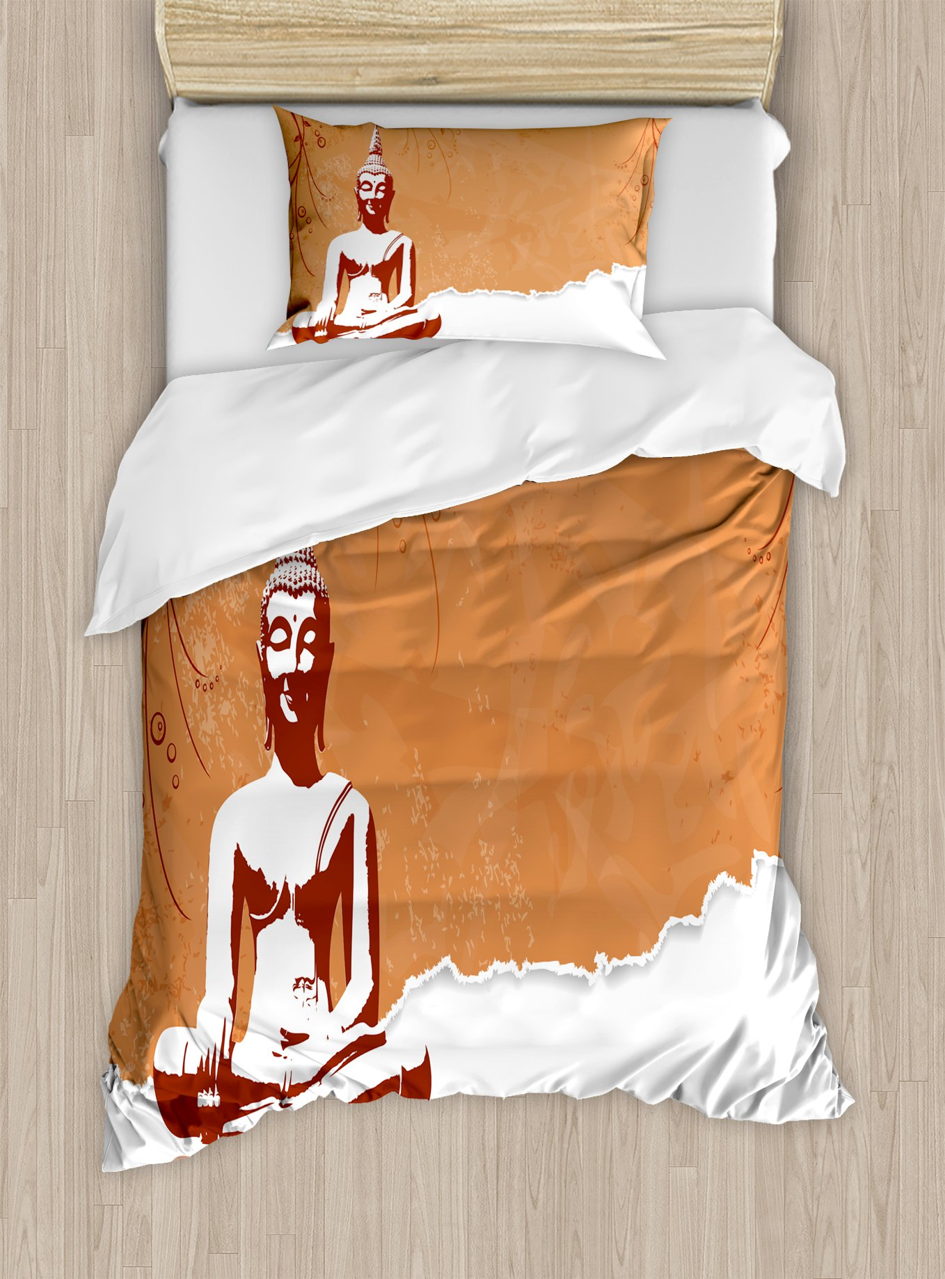 Ambesonne Thai Culture Duvet Cover Set Twin Size, Meditating Statue with Floral Lotus Details Spiritual Concept Image, Decorative 2 Piece Bedding Set with 1 Pillow Sham, Salmon White Ruby