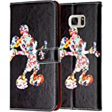 Galaxy S7 Edge Wallet Case, DURARMOR® Black Cartoon Mickey Mouse Premium Leather Folio Purse Wallet with ID, Credit Card, Cash Slots Flip Stand Cover Protector Carrying Case