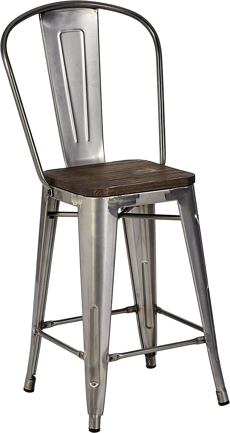Pioneer Square Luxor Metal Counter Stool, 24 , Antique Gun