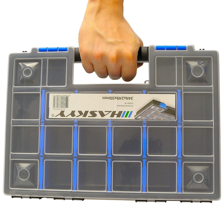 2 mallettes de rangement XL compartiment/ées et empilables 345x249x50 mm I armoire petites pi/èces I bo/îte /à vis I casiers de rangement I coffret assortiment