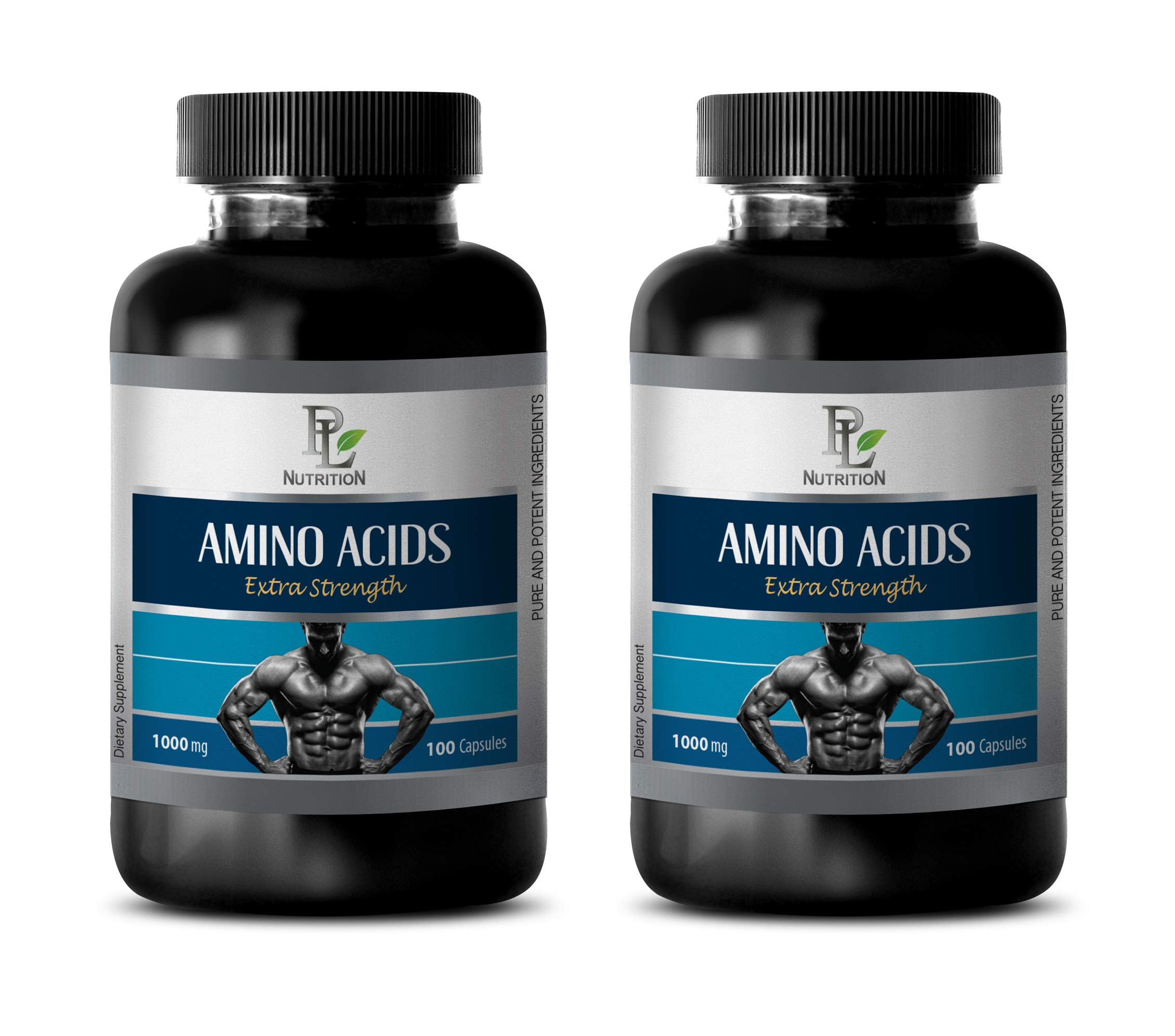 Muscle Booster for Men - Amino ACIDS Extra Strength 1000MG - l-tyrosine l-theanine - 2 Bottles 200 Capsules by PL NUTRITION