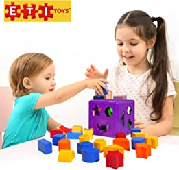 ETI Toys | Unique Educational Sorting & Matching Toy For Toddlers. Quality Colorful Sorter Cube Box With 19 Shapes -100% Non-Toxic Safe Materials-Promotes Fun Learning, Creativity & Skills Development