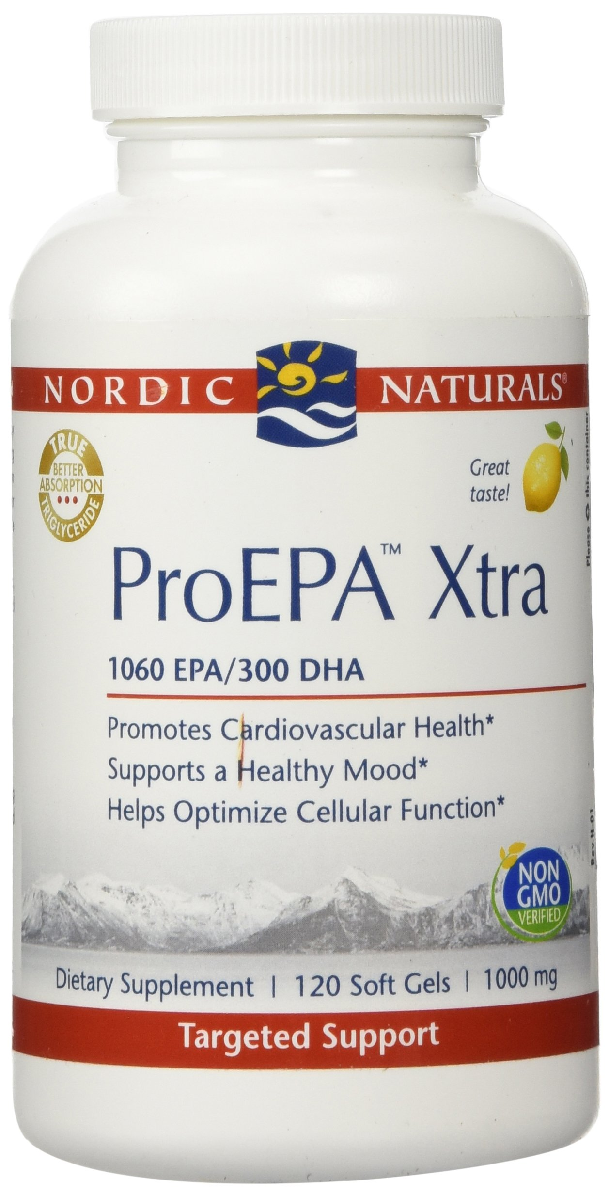 Nordic Naturals ProEPA Xtra- Fish Oil, 1060 mg EPA, 260 mg DHA, Targeted Support for Cardiovascular Health, a Healthy Mood, and Optimal Cellular Function, Lemon Flavored, 120 Soft Gels by Nordic Naturals