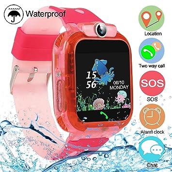 bhdlovely Smartwatch Niños con LBS/GPS Llamadas Voz Juego SOS Reloj Impermeable para Niños Inteligente de 3 a 13 Años
