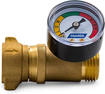Amazon Com Camco Brass Water Pressure Regulator With Gauge Helps Protect Rv Plumbing And Hoses From High Pressure City Water Easy Read Gauge Lead Free 40064 Automotive