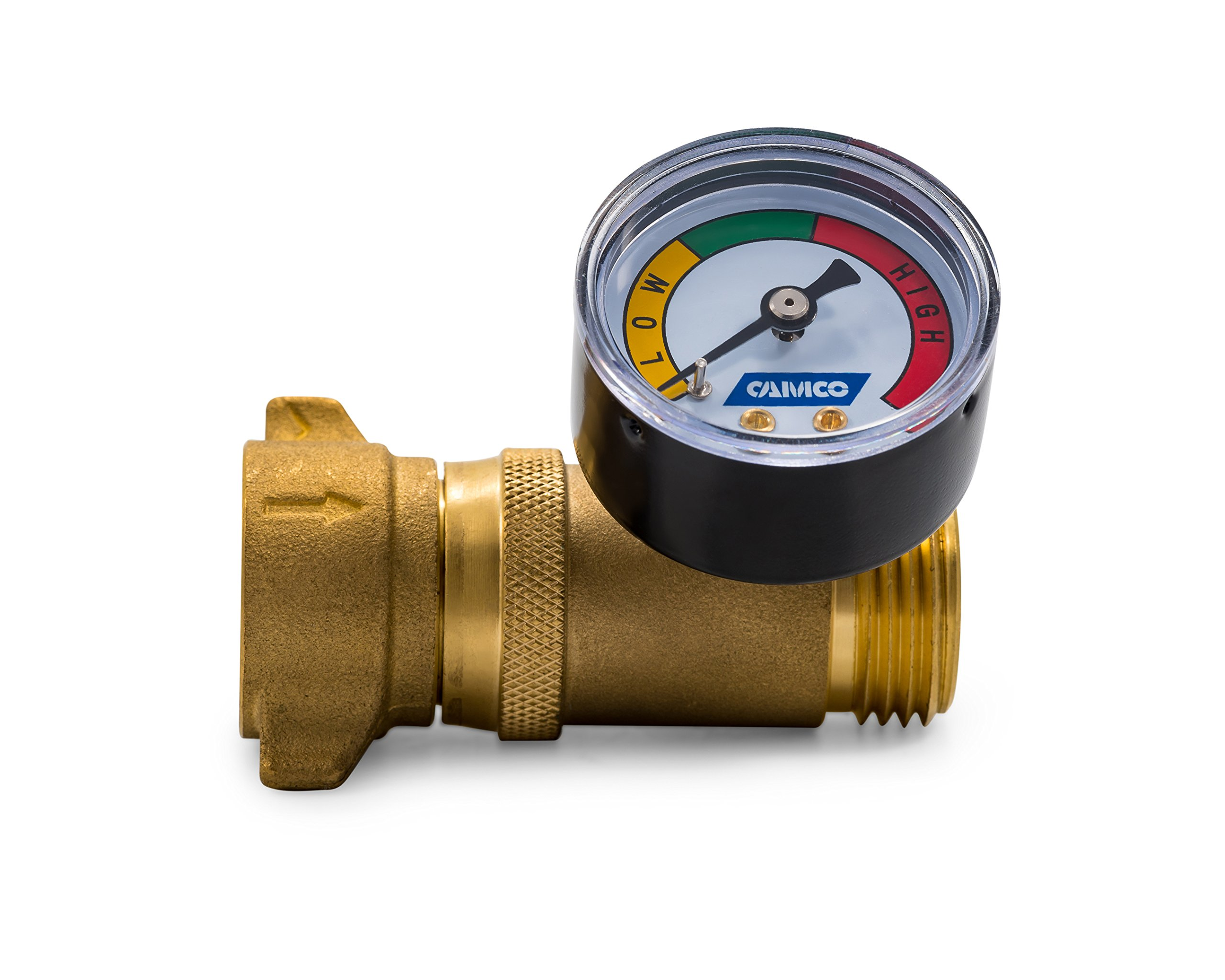 Camco Brass Water Pressure Regulator with Gauge- Helps Protect RV Plumbing and Hoses from High-Pressure City Water - Easy Read Gauge, Lead Free (40064) by Camco