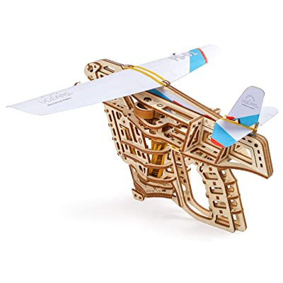 Ugears Flight Starter, Paper Airplane, Portable Hand Catapult, Mechanical Wooden 3D Model: Toys & Games