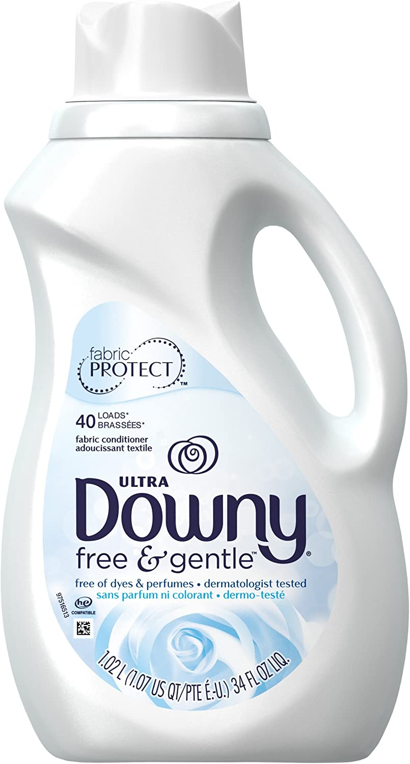 Downy Free & Gentle Liquid Fabric Conditioner for Sensitive Skin, 34 Fl Oz