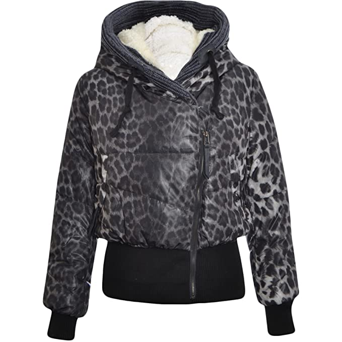 64fb852a80321 Womens Jacket Ladies Faux Fur Animal Leopard Hooded Padded Cropped Winter  Coats (UK 8 (S)