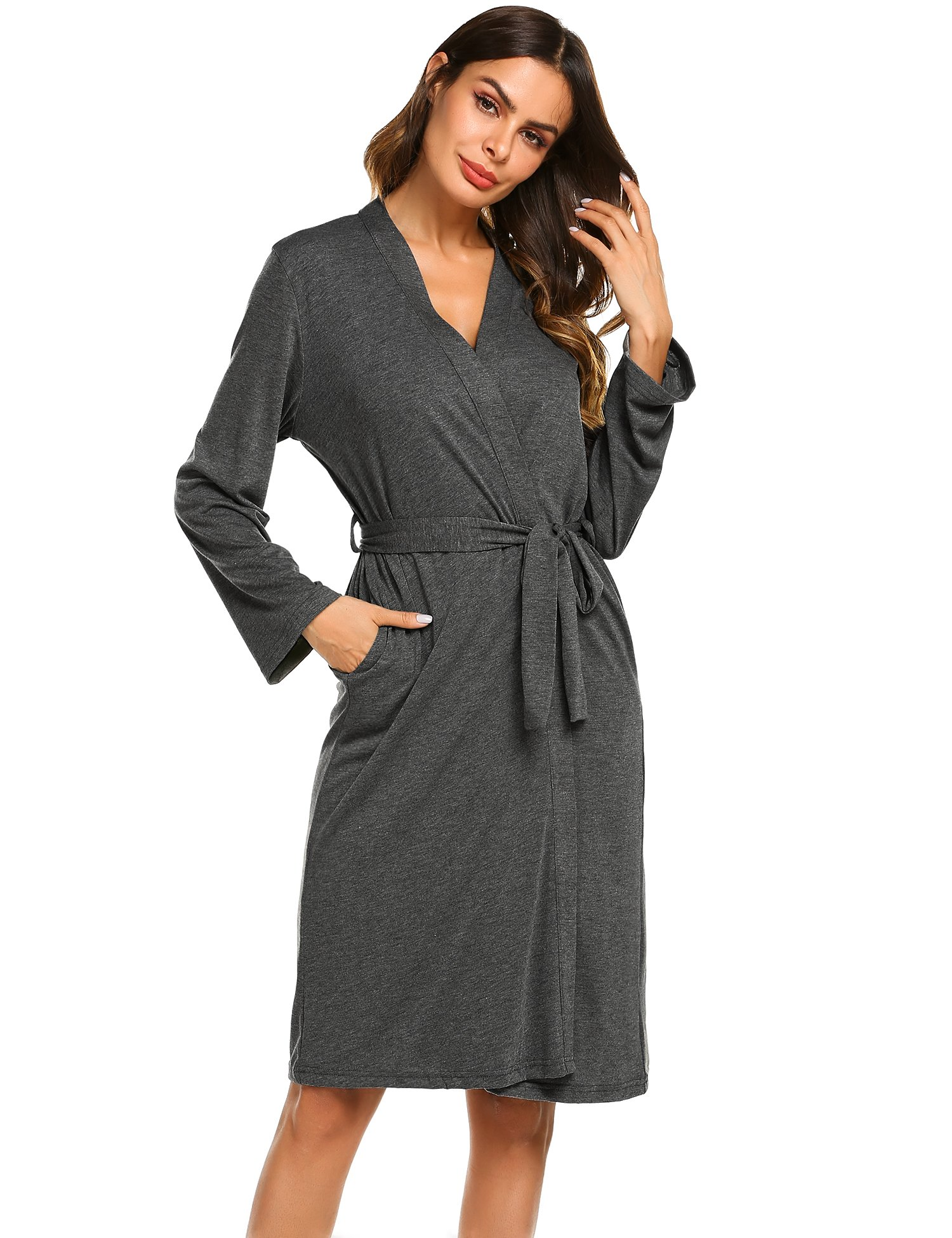 Ekouaer Soft Long Robe Women Cotton Sleepwear Bath Robes (Grey, Small)