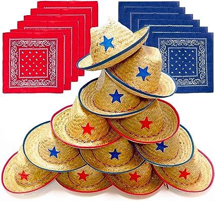 Amazon.com: Docena de paja de vaquero para niños sombreros ...