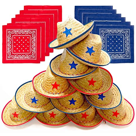 9191438ba178c Amazon.com  Dozen Straw Cowboy Hats with Cowboy Bandanas (6 Red   6 Blue)  for Kids - Makes Great Birthday Party Hats for Boys and Girls  Toys   Games