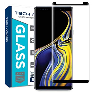 Tech Armor 3D Curved Ballistic Glass Screen Protector for Samsung Galaxy Note 9, CASE-Friendly, Black - [1-Pack]