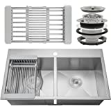 "Firebird 33"" x 22"" x 9"" Handmade 18 Gauge 50/50 Double Bowl Basin Topmount Drop-in Kitchen Sink w/ Adjustable Dish Tray & Strainer"