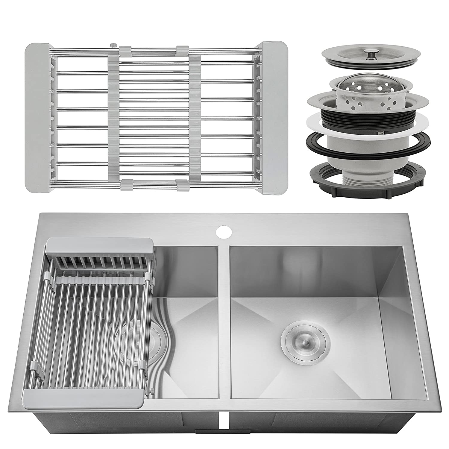 Firebird 32 x 18 x 9 Handmade 18 Gauge 50 50 Double Bowl Basin Topmount Drop-in Kitchen Sink w Adjustable Dish Tray Strainer