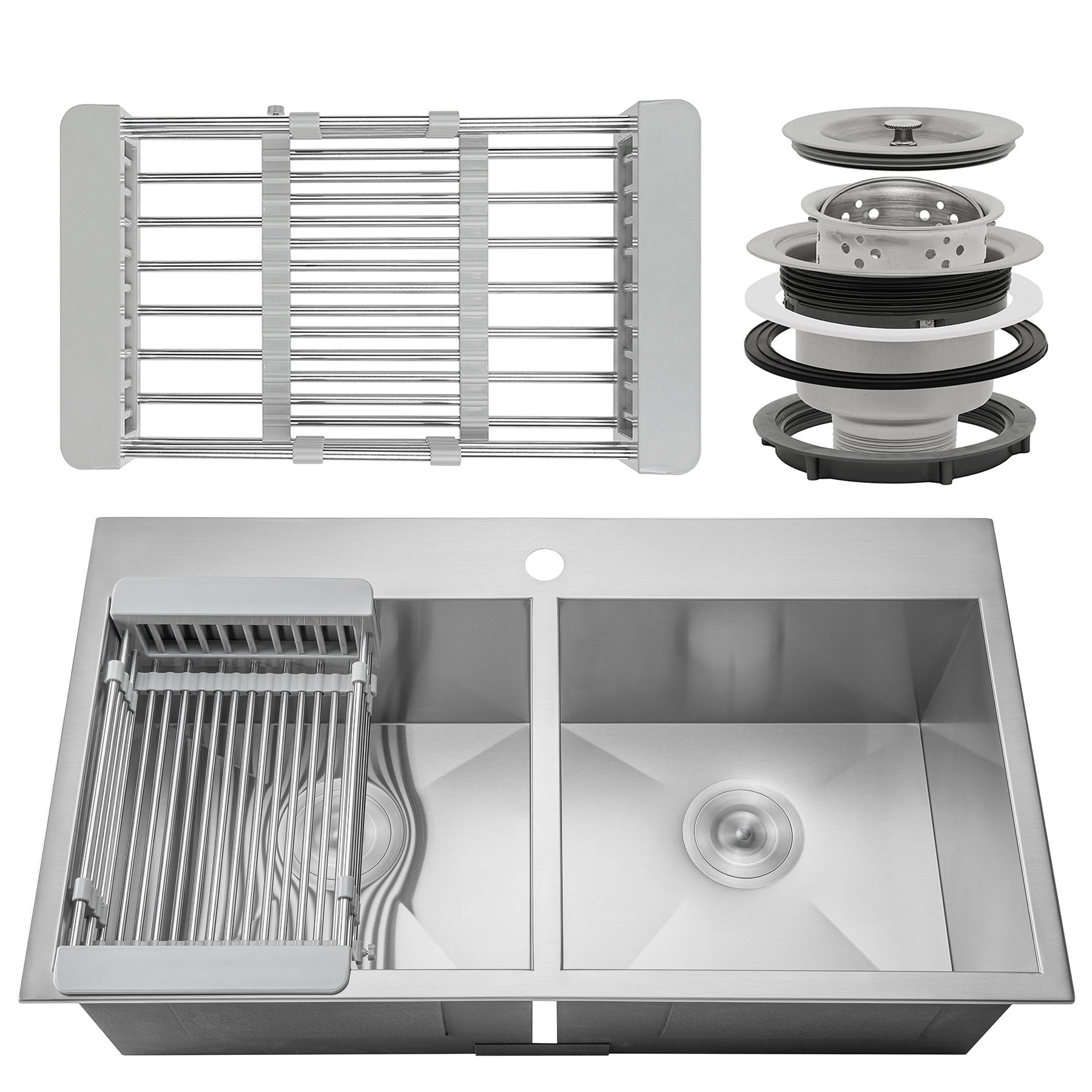 Firebird 32'' x 18'' x 9'' Handmade 18 Gauge 50/50 Double Bowl Basin Topmount Drop-in Kitchen Sink w/ Adjustable Dish Tray & Strainer