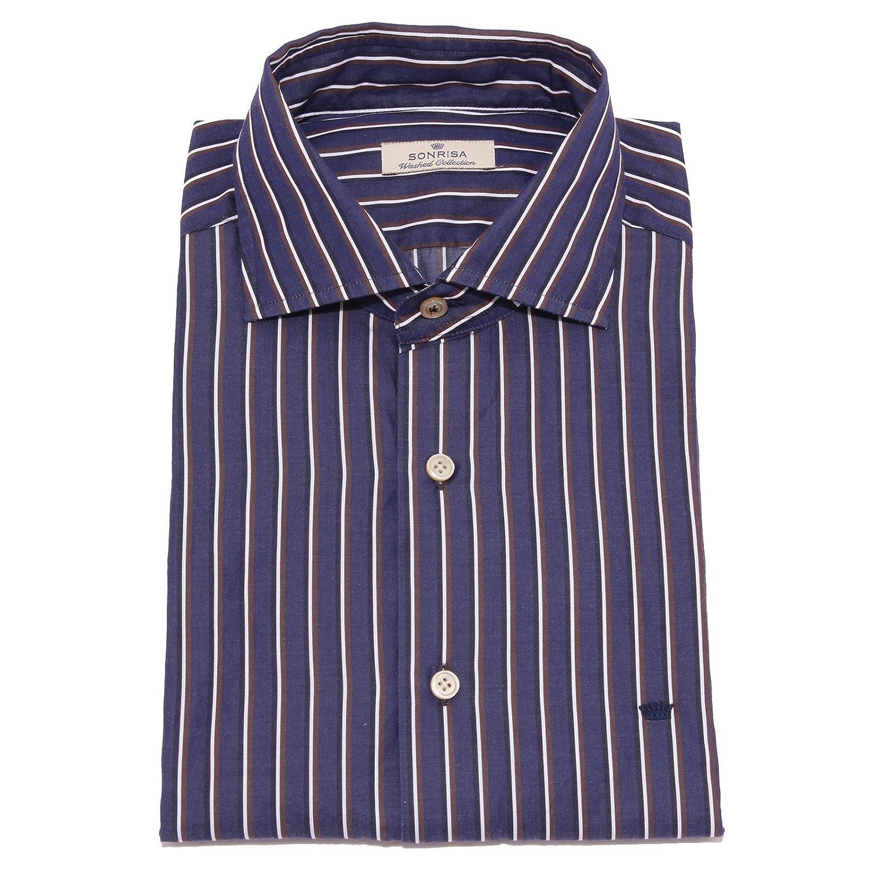 bleu Bianco marron 42 (16.1 2) SONRISA 7310W Camicia hommes Washed Collection bleu blanc marron Shirt Cotton Hommes
